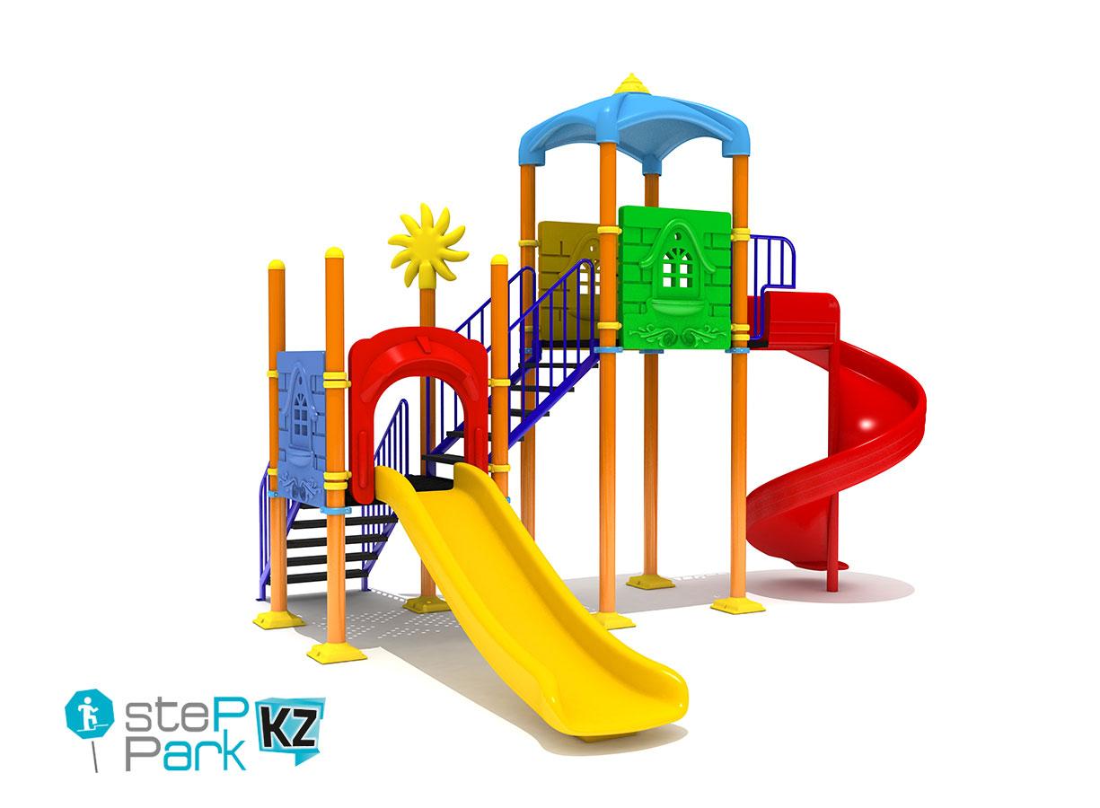 Детский игровой комплекс со спиральной горкой, двумя замками и двумя качелями