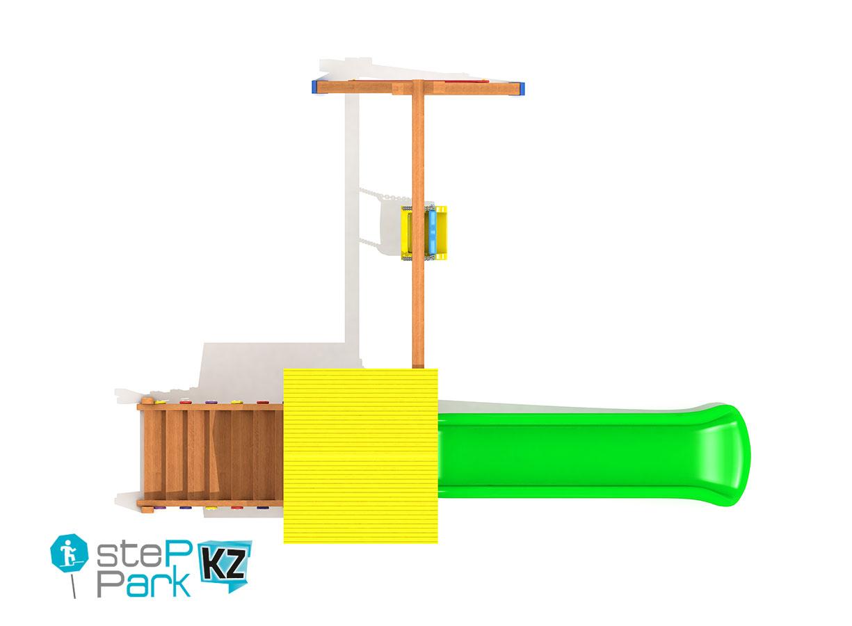 Детский деревянный игровой парк с одной башней и с одной качелей вид с птичьего полета