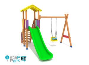 Детский деревянный игровой парк с одной башней и с одной качелей
