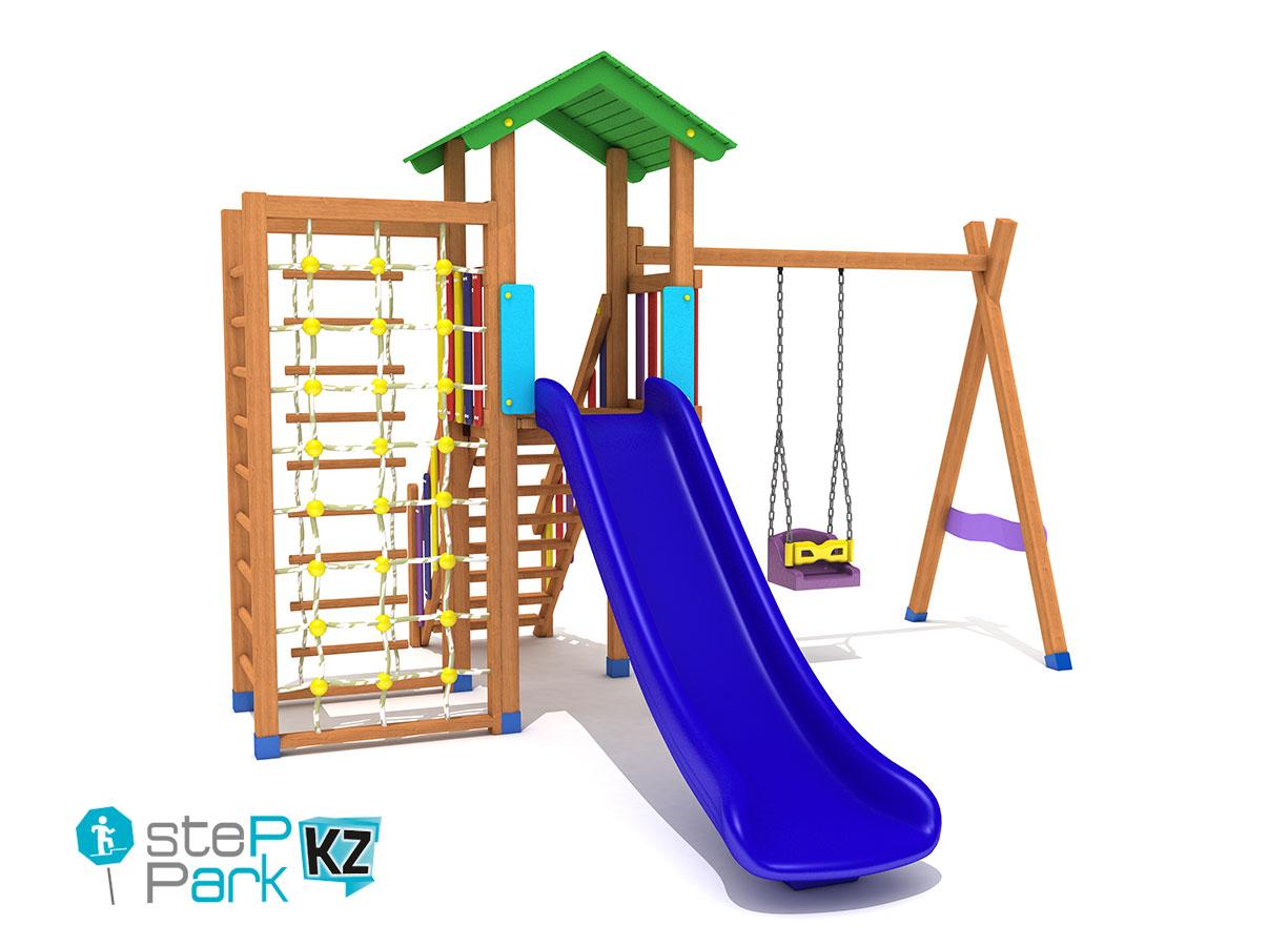 Деревянный игровой парк со скалолазанием и с одной башней