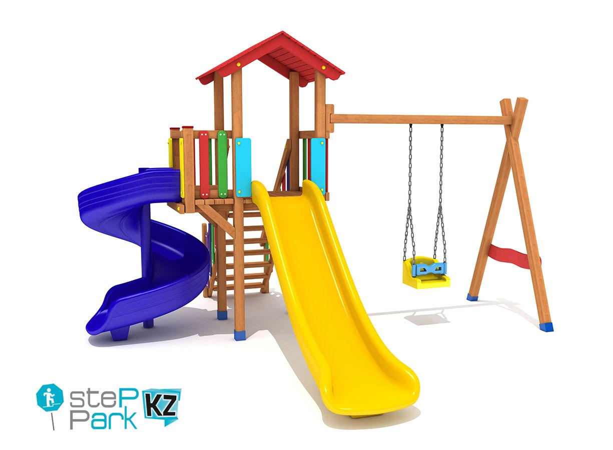 Деревянный игровой парк с одной качелей и со спиральной горкой