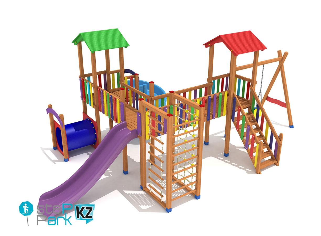 Деревянный детский игровой парк с мостом, с одной качелей, с тремя башнями