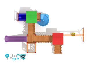 Деревянный детский игровой парк с мостом, с одной качелей, с тремя башнями вид с птичьего полета
