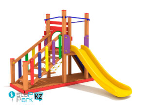 Деревянный игровой парк со скалолазанием
