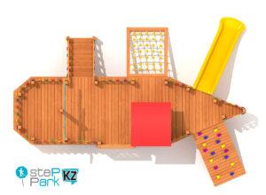 Деревянный корабль детский игровой парк вид с птичьего полета