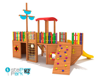 Детская игровая деревянная корабль
