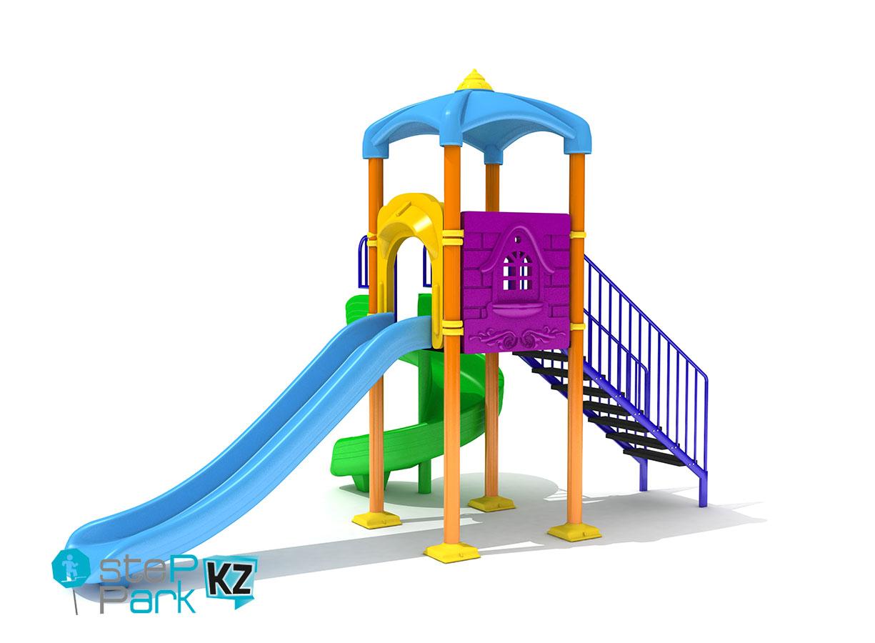 Металлическая детская игровая площадка с двумя горками