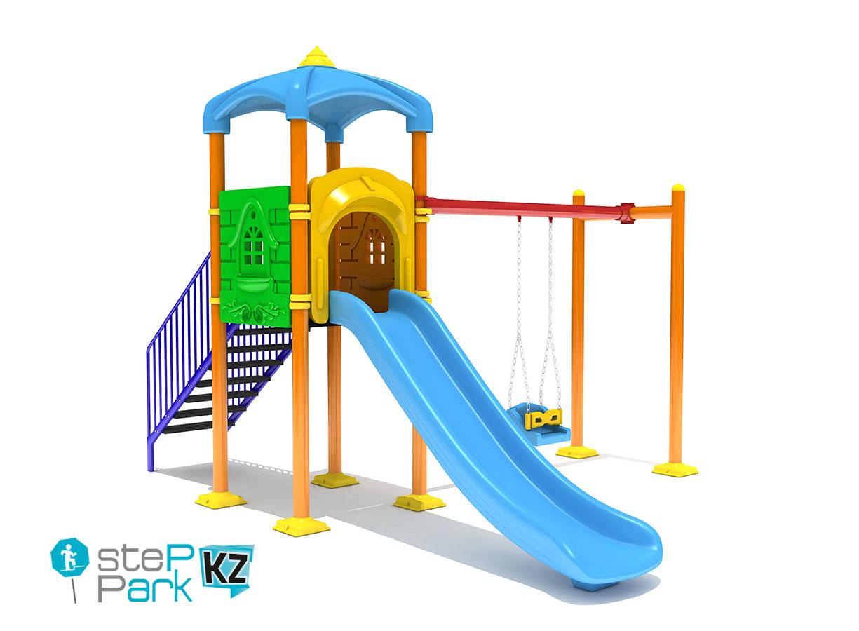 Металлическая детская игровая площадка с качелей