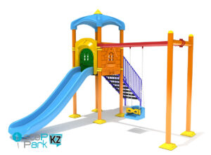 Металлическая детская игровая площадка с качелей и одним замком