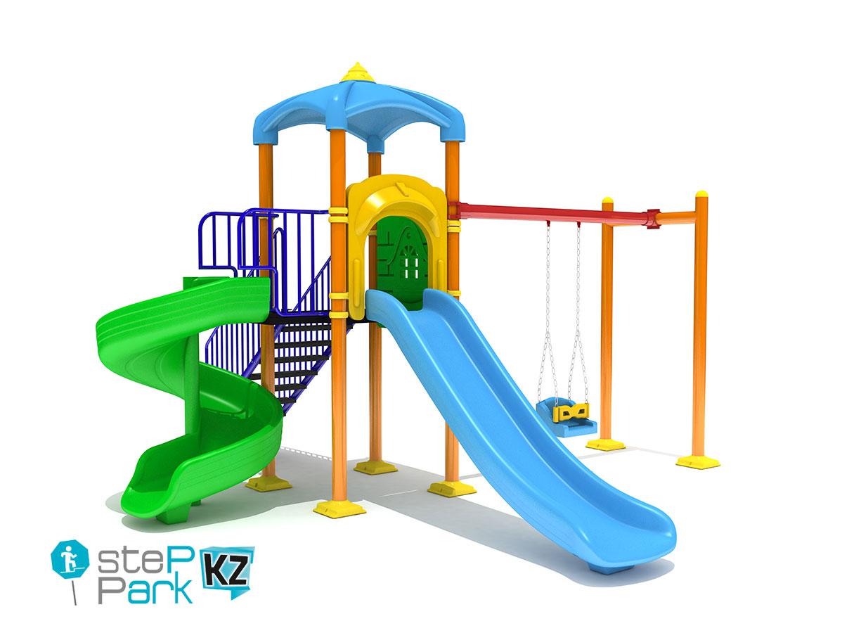 Детская игровая площадка с двумя горками и качелей