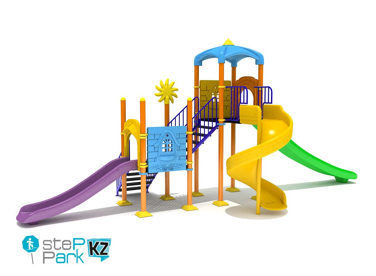Детский игровой комплекс с тремя горками и двумя замками