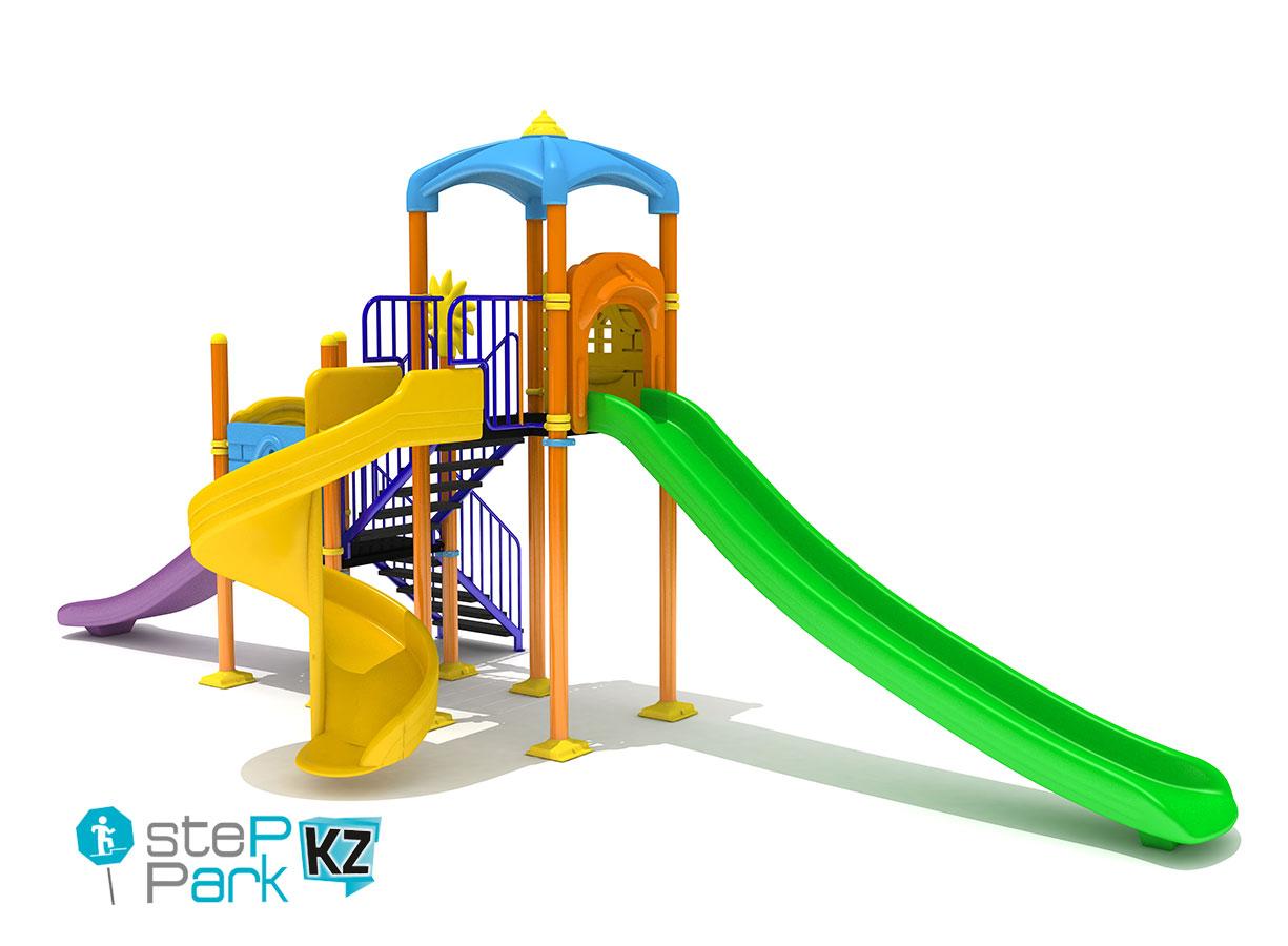 Детский игровой комплекс со спиральной горкой, двумя замками и тремя горками