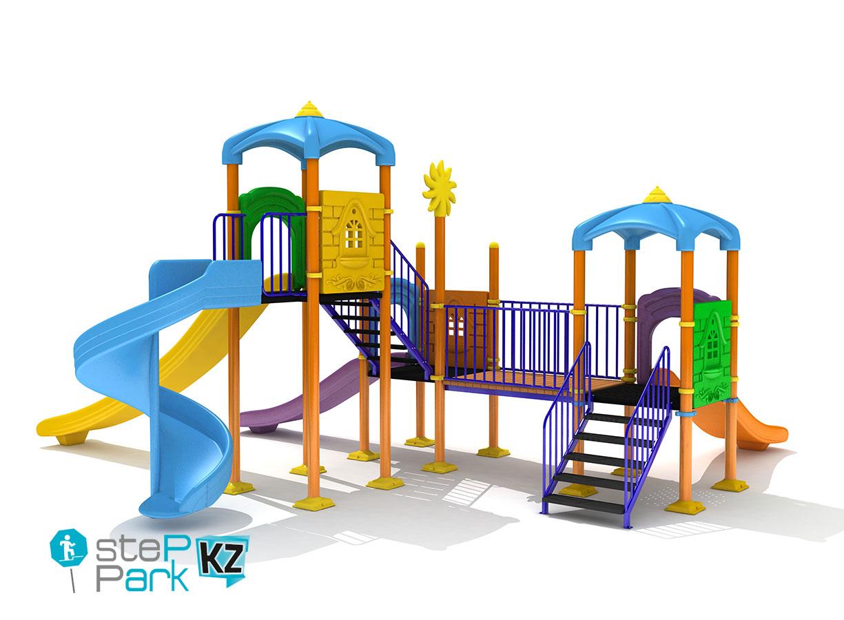 Детский игровой комплекс с тремя горками и тремя замками