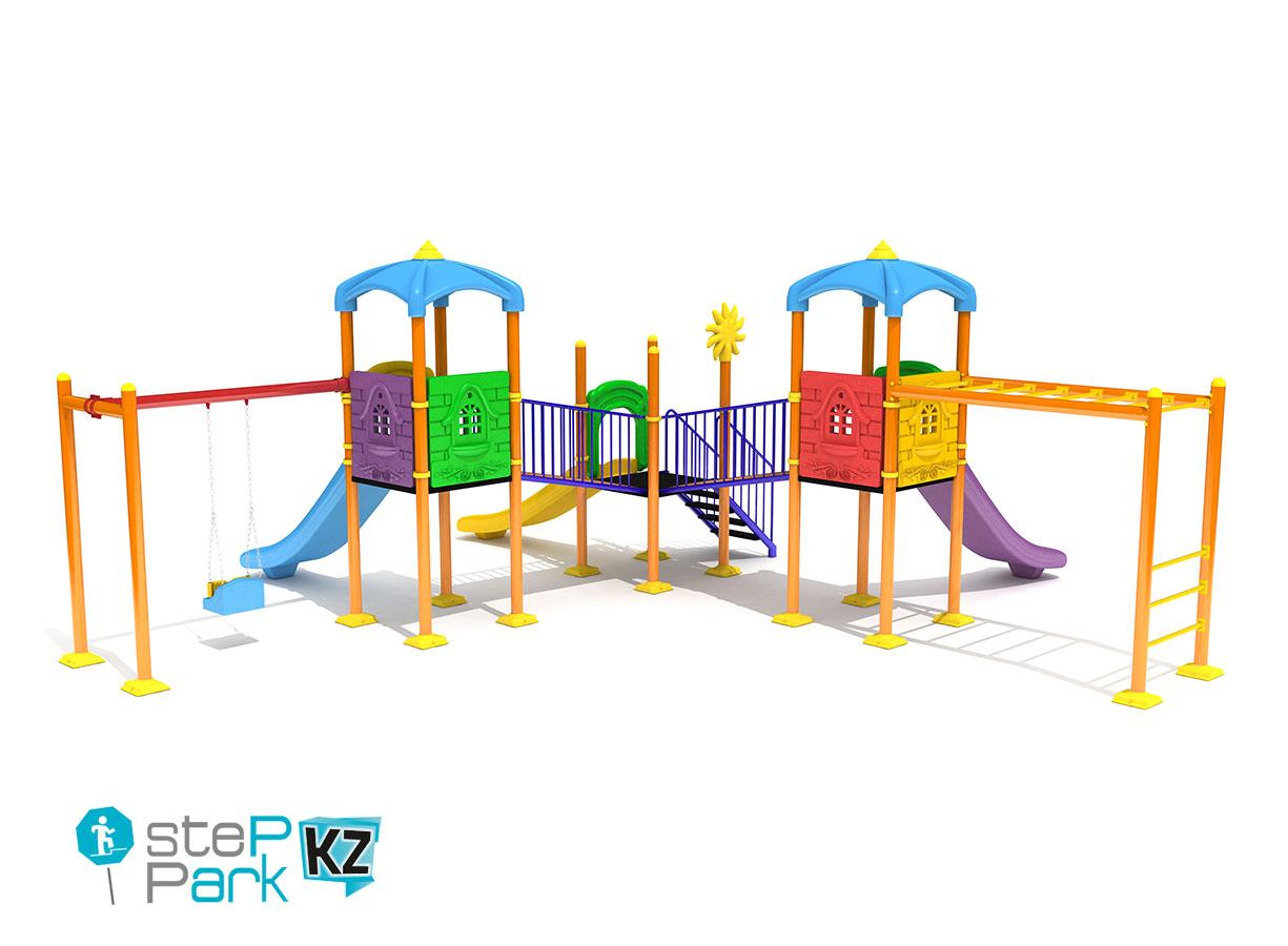 Детский игровой комплекс с тремя горками и качелей и тремя башнями