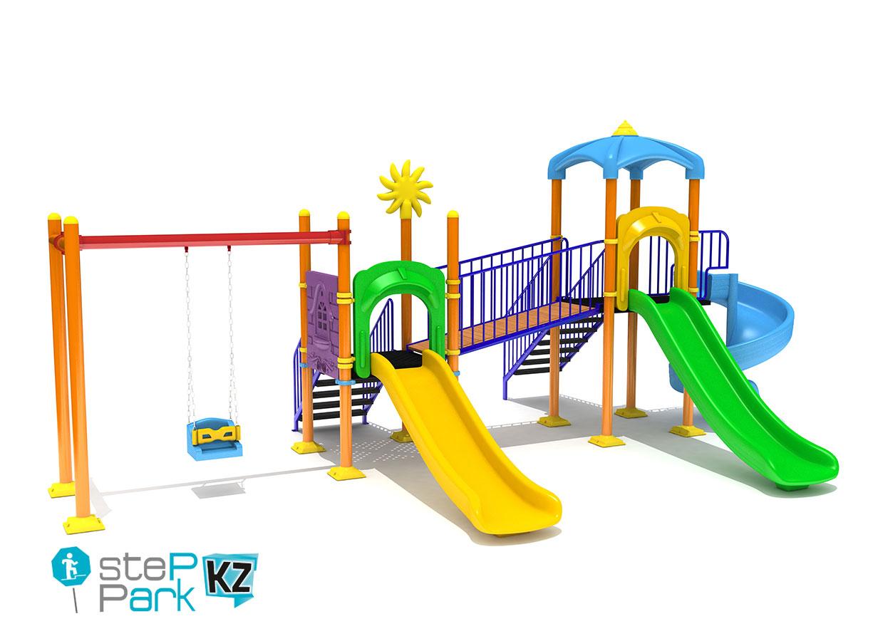 Металлический игровой парк с двумя башнями и с двумя горками